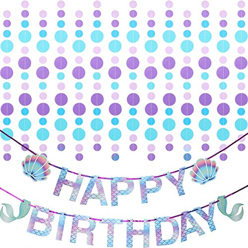 Mermaid Happy Birthday Banner Mermaid Banner Birthday Party Banner and Circle Dots Garland Hanging Decorations Mermaid Party Supplies for Theme Party, Indoor Party
