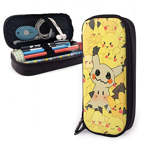 Yellow Pikachu Art Pencil Pen Case with Compartments - Large Capacity Cute Pen Pouch Box with Fashion Design Big Capacity Pencil Pen Case with Zipper for Students
