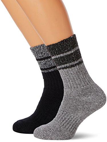 Trespass Hitched, Black/Grey Marl, 7/11, Socken (2 Paar pro Packung) für Herren, 41-45, Schwarz