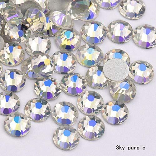 SS3 (1,3 mm) bunte 3D-Folie, flache Rückseite, Strasssteine, zum Aufkleben auf nicht-Hotfix, transparente Farbe, 1440 Stück Sky Purple