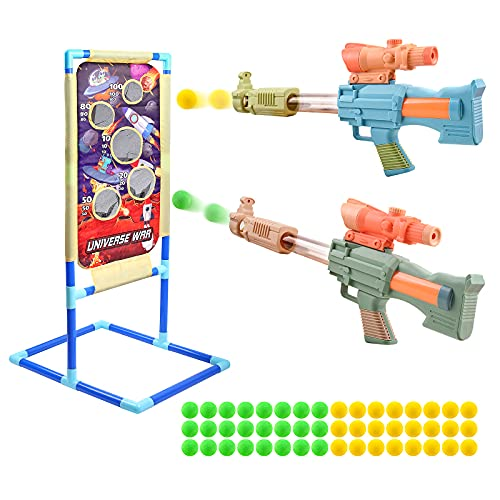 Juego de Objetivos de Tiro, 2 Pistolas de Juguete con 48 Bolas de Espuma, Juguetes de Jardín al Aire Libre, Regalos para Niños de 3 4 5 6 7 8 9 10+ Años