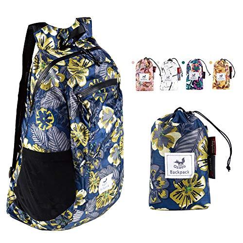 Ozaeo Faltbarer Wanderrucksack, wasserabweisend, ultraleicht, verstaubarer Rucksack für Reisen, Camping, Rucksackreisen, Einkaufen