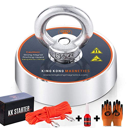 King Kong Magnetics Fishing Magnet Kit with Super Strong Magnet for Pulling 400 Lb, Gloves, Rope, Thread Locker and Carabiners | Underwater Metal Detector – The Ultimate Magnet Fishing Bundle Pack Montana