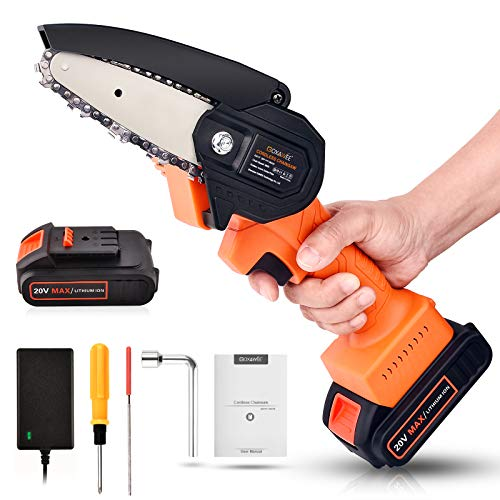 Cordless Mini Chainsaw, GOXAWEE 20V 4 Inch Power Chain Saw, Small Handheld Electric Saw - with 2Ah Battery / Charger / Replacement Chain for Wood Cutting, Farming, Garden, and Courtyard Tree Trimming
