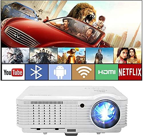CJDM Proyector Bluetooth Inteligente con 4800 lúmenes, Proyectores domésticos inalámbricos WiFi compatibles con 1080P para Juegos, películas, USB VGA para iPhone BLU Ray DVD Roku TV Stick Kodi Yo