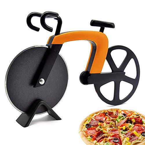 McNory Pizzaschneider Fahrrad,Pizzaroller aus Rostfreiem Stahl,Antihaft -Beschichtung Pizza Schneider mit Ständer,Geeignet für Pizzaparty usw,Interessante Geschenke