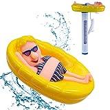 LT Schwimmbad Teichthermometer Schwimmt Schwimmende Pool Thermometer Badethermometer Messgerät Wasserthermometer mit Saite Schwimmbad für Pools Gartensauna...