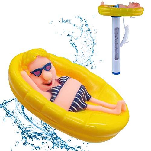 LT Schwimmbad Teichthermometer Schwimmt Schwimmende Pool Thermometer Badethermometer Messgerät Wasserthermometer mit Saite Schwimmbad für Pools Gartensauna Whirlpools