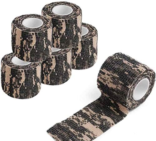 Camo Tape Stoff, Tarnband der Militärarmee, Camo Tape Fabric, Veterinärband, selbstklebendes Vliesband, für die militärische Jagd im Freien (5er-Pack)