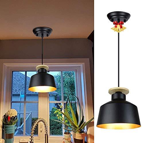 Depuley Black Industrial Pendant Light, Farmhouse Metal Hanging Barn Pendant Lighting Fixture, Adjustable Length Vintage Ceiling Hanging Dining Light Fixture for Kitchen, Bar, Entryway