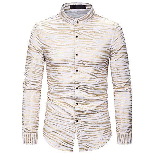 Camisa de Manga Larga para Hombre Patrn de Ondas Bronceado Estilo Club Nocturno Camiseta clsica de un Solo Pecho Slim Fit All-Match XXL