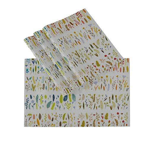 Juego de manteles individuales de 4, tapetes lavables con aislamiento termico, Vector elegante linda flor gran coleccion 18 x 12 pulgadas manteles de cocina manteles individuales para mesa de comedor