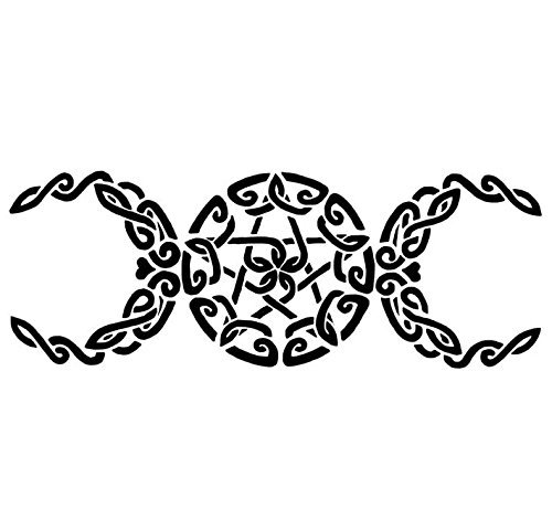 Celtic Knot Wiccan Three Moon Heart Vinyl Decal, Triple Moon Sticker, Triple Goddess Decal, Wiccan Goddess Decal