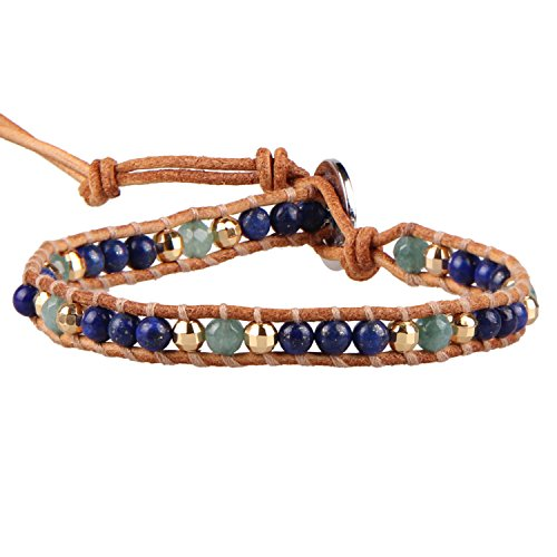 KELITCH Natur Multi-Farbe Lapis Lazuli Seed Mischen Beads Single Bracelet Armband WickelArmband - Beige Leder