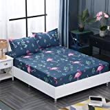 Cling 1pcs 100% Polyester Printing Bed Mattress Set with Four Corners and Elastic Band Sheets Pillowcases Need Order 120X200X25cm huolieniao