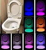 SANDIN WC Nachtlicht, LED Toilette Licht WC Lampe mit Bewegungssensor Batteriebetriebenes Licht Toilettenlicht Toilettenbeleuchtung für Kinder Eltern im Badezimmer, Hause
