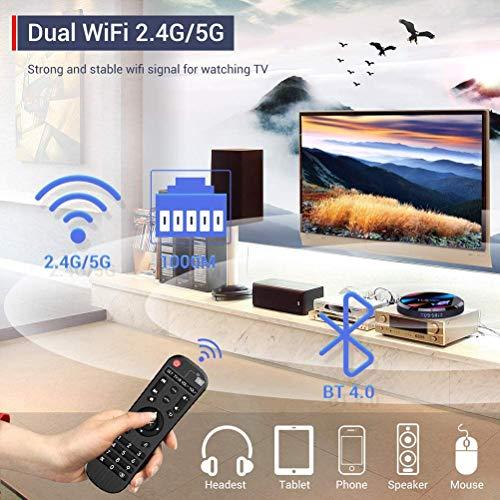 H96 Max Android TV Box 9.0 4GB RAM+64GB ROM Boitier Android TV S905X3 Quad-Core 64bit Cortex-A55 Bluetooth 4.1 LAN 1000M Dual-WiFi 2.4GHz/5GHz USB 3.0, Supporte 4K 60Hz Full HD / 3D / H.265 TV Box