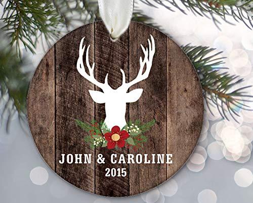 Personalized Deer Bust Ornament, Deer Silhouette Ornament, Christmas Ornament Buck Antlers & Wood Rustic Deer Art Engagement Gift Custom Name Year 3' Porcelain Ceramic Ornament