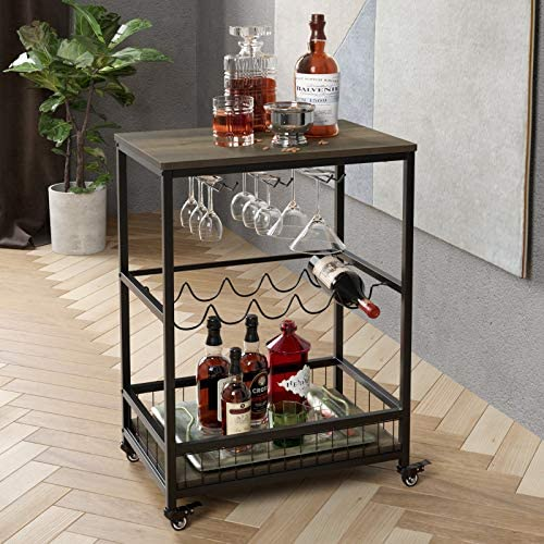 HOMECHO Bar Carts for Home Mobile Wine Cart on Wheels Wine Rack Table with Glass Holder Utility product image