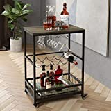 HOMECHO Bar Carts for Home, Mobile Wine Cart on Wheels, Wine Rack Table with Glass Holder, Utility...
