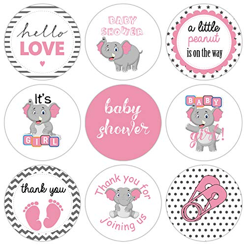 Roze olifant Baby Shower Favor Stickers, Baby Douche Stickers, Chocolade Drop Labels, Olifant Baby Shower Meisje, Baby Douche Gunsten voor meisjes, 0,75 inch, 180-Pack