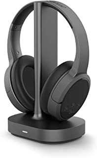 Brookstone AirPhones Wireless RF Over Ear Headphones with Wireless-Transmitting Charging Dock, 10 Hrs Playtime, Deep Bass ...