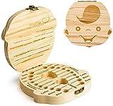 PRIMEHARUI Denti Salva Box per Bambini e Bambina (Italiano), Scatola Porta Dentini da Latte,Bambini in Legno Ricordo Regalo, Accumulazione dei Denti (Ragazzo)