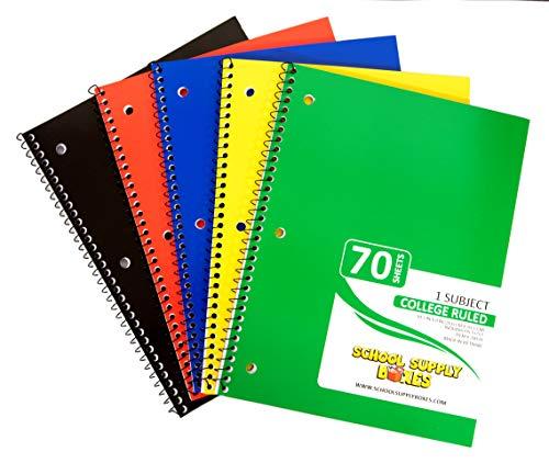 College Ruled Spiral Notebooks – 5pk School Supply Bundle...