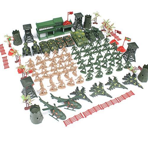 happygirr 122 Stück Militärsoldat Miniatur Spielzeug Soldaten mit Granatentank Flugzeug Rakete Militärspielset Kunststoff Armee Soldaten Geschenk für Kinder Jungen