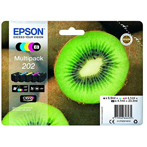 Epson Original 202 Tinte Kiwi (XP-6000 XP-6005 XP-6100 XP-6105, Amazon Dash Replenishment-fähig) Multipack 5-farbig