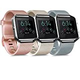 [3 Pack] Silicone Bands Compatible with Fitbit Blaze Bands for Women Men, Replacement Sport Wristband for Fitbit Blaze Smart Fitness Watch, Not Included Blaze and Frame (Small, Gray, Rose Gold, Gold)