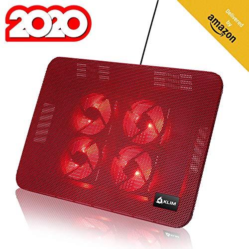 KLIM Serenity + Laptop-Kühler + 11 bis 15,6 Zoll + Perfekt für kleine und mittlere Laptops + Stabiles und Robustes Metallgitter + Geräuschloses Laptop-Kühlpad + NEU 2020 (Rot)