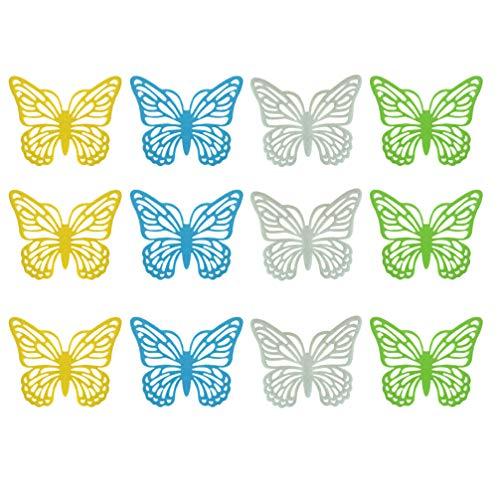 Amosfun Schmetterling Untersetzer Dekorative Tisch Tasse Schüssel Geschirr Teller Tischset Pad für Ostern Hochzeit 12 Stücke (Grün Blau Weiß Gelb Je 3 Stücke)