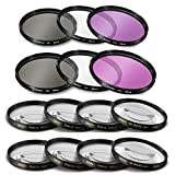 55mm and 58mm 14 Piece Filter Set Includes 3 PC Filter Kit (UV-CPL-FLD) and 4 PC Close Up Filter Set (+1+2+4+10) for Nikon D5600, D3400 DSLR Camera with Nikon 18-55mm f/3.5-5.6G VR and Nikon 70-300mm