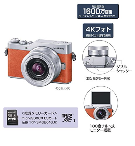 パナソニックミラーレス一眼カメラルミックスGF9ダブルズームレンズキット標準ズームレンズ/単焦点レンズ付属オレンジDC-GF9W-D