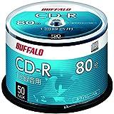 バッファロー 音楽用 CD-R 1回録音 700MB 50枚 スピンドル ホワイトレーベル RO-CR07M-050PW/N