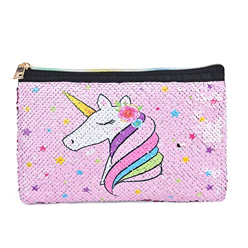 WERNNSAI Sparkly Unicorn Makeup Bag - Sequin Pink Zipper Bag for Girls Women Pencil Case Travel Toiletry Cosmetic Pouch Gift