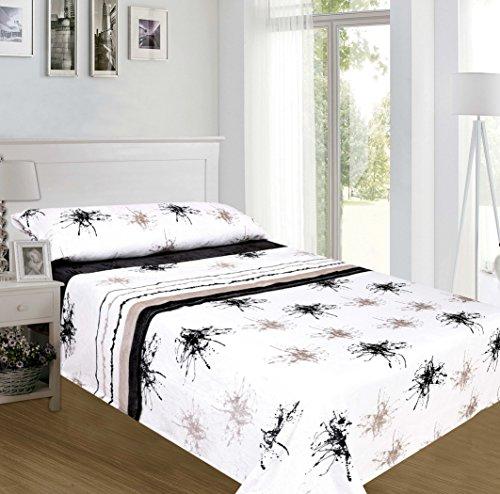 ForenTex - Juegos de sábanas, (TM-4021), Pinceladas Negro, Cama 105 cm, con Tacto Seda de sedalina, nacarina, de 250 gr/m2, Ultra Suaves, exclusivas.