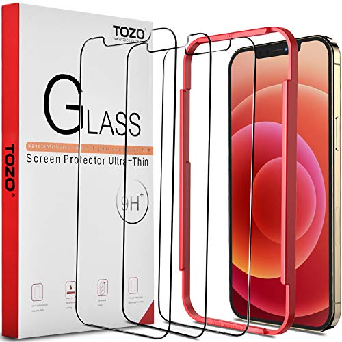 TOZO Compatible for iPhone 12 and Compatible for iPhone 12 Pro Screen Protector 3 Pack Premium Tempered Glass 0.26mm 9H Hardness 2.5D Film Super Easy 6.1 inch