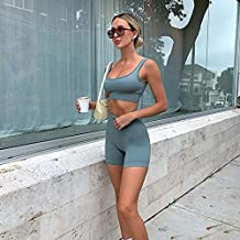 Naadloze Yoga Outfits voor Vrouwen 2 Stuk Geribbelde Workout Sets Hoge Taille Leggings Shorts met Tank Crop Top Sport Bar ...