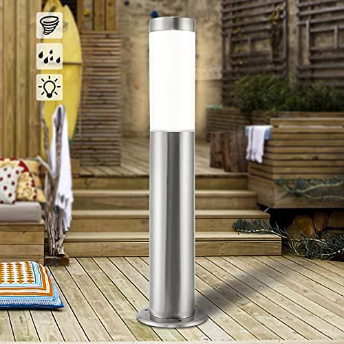 Puffalou LED Gartenleuchte IP44 Wegeleuchte aus Edelstahl und Kunststoff E27 Sockel Außenbeleuchtung Weg-Beleuchtung, Garten-Lampe inkl. 7W E27 Licht 2700K Warmweiß