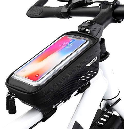 MINGYUAN Borsa Telaio Bici, Impermeabile Borsa da Manubrio per Biciclette, Touch Scree Porta Telefono MTB Borsa Porta Cellulare Bici Borse Biciclette per iPhone XS/X/Samsung S9/S8 Fino a 6,5'