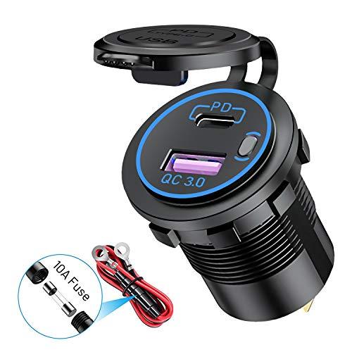 YGL - Cargador de coche USB para moto, QC3.0 + PD/C impermeable, 12 V/24 V, con LED y interruptor, para coches, barcos, bicicleta de montaña, color azul
