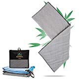 Travoyage ® Bambus Microfaser Badetuch & Saunatuch - Außergewöhnlich schnelltrocknendes Strandtuch [40% Aktivkohlefaser] Großes Reisehandtuch für Damen & Herren | 160x80cm Mondgrau