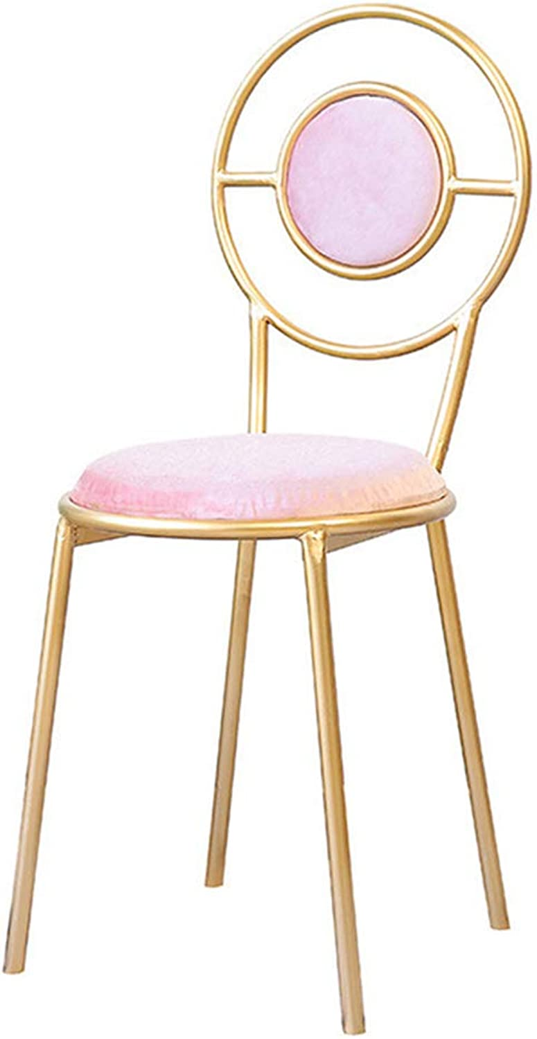 Tall Stool Simple Iron Style with Backrest Coffee Shop Household Make Up Leisure Chair Hight Bar Chair,Pink,45Cm