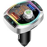 Transmisor FM Bluetooth V5.0,3 USB QC3.0 y PD 18W Carga Rapida Manos Libres Coche, Reproductor MP3 Coche Soporte Tarjeta TF 64 G y Disco U, Siri, 8 Colores Luz
