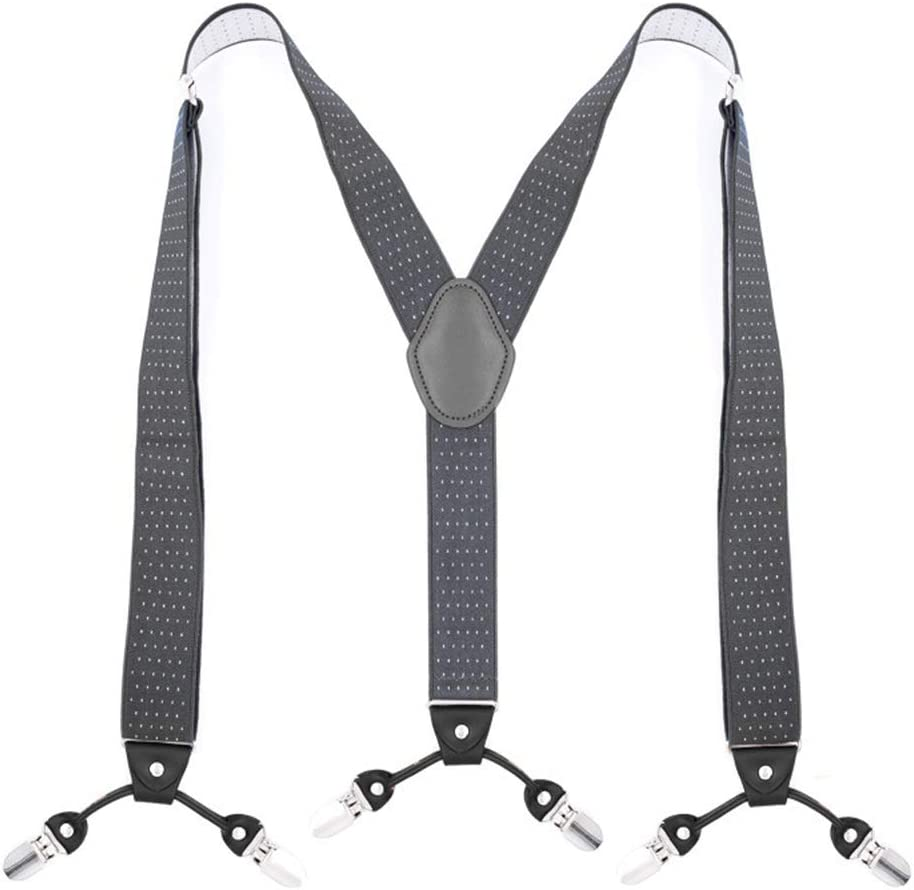 ZYDP Unisex Y-Back Elastic Strap Heavy Duty Suspenders Multi Patten Jacquared Braces Big and Tall Y Style (Color : C)
