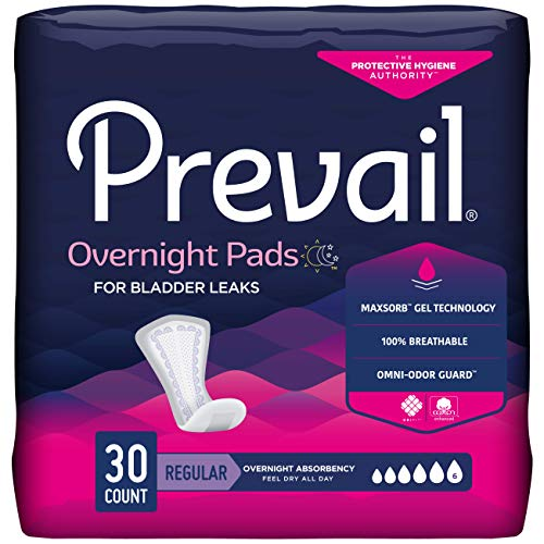 Prevail Incontinence Bladder Control Pads, Overnight Absorbency, 30 Count Trial Pack