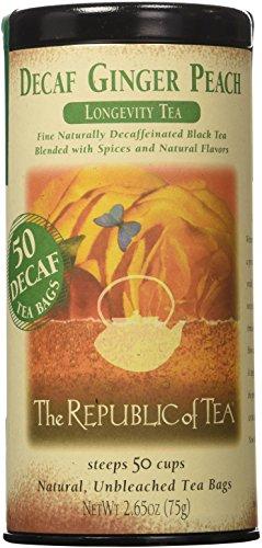 The Republic of Tea Decaf Ginger Peach Black Tea, Tin of 50 Tea Bags