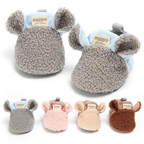 Borlai Baby Warm Fleece Booties Winter Cute Cartoon Baby Shoes Soft Sole Anti-Slip Shoes